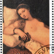 "BURYATIA - CIRCA 1990: A stamp printed in Buryatia shows picture of Tiziano ""The Venus of Urbino"", circa 1990 — Stock Photo"