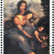 "BURYATIA - CIRCA 1990: A stamp printed in Buryatia shows picture of Leonardo da Vinci ""Saint Anna"", circa 1990 — Stock Photo"