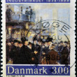 Stock Photo: DENMARK - CIRC1988: stamp printed in Denmark dedicated to industrialization, shows meeting of wealthy capitalists, circ1988