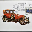 Foto de Stock  : SPAIN - CIRC1979: stamp printed in Spain shows classic car, Abadal, 1914, circ1979.