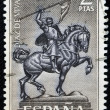 SPAIN - CIRCA 1962: a stamp printed in Spain shows Equestrian Statue of El Cid Campeador (Rodrigo Diaz de Vivar), Spain's National Hero by Anna Huntington, circa 1962 — Stock Photo