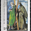 GUINEA - CIRCA 1984: A stamp printed in Republic of Guinea Bissau shows draw by artist El Greco - St Andrew and St Francis, circa 1984  — Stock Photo