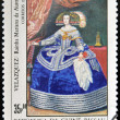 Stock Photo: GUINE- CIRC1984: stamp printed in Republic of GuineBissau shows draw by artist Velazquez - Portrait of InfantMariTheresof Spain, Philip IV's daughter, circ1984