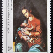 GUINEA - CIRCA 1984: A stamp printed in Republic of Guinea Bissau shows draw by artist Morales - Virgin and child, circa 1984 — Stock Photo #27202111
