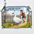 JERSEY - CIRCA 2005: A stamp printed in Jersey shows Goose that laid the golden egg, circa 2005 — Stock Photo