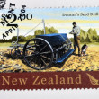 NEW ZEALAND - CIRCA 2004: A stamp printed in New Zealand dedicated to historic farm equipment, shows Duncans Seed Drill, circa 2004 — Stock Photo