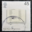 UNITED KINGDOM - CIRC2001: stamp printed in Great Britain shows Poem 'Adressing of Cats' by T.S.Eliot in Open Book commemorates 100th anniversary of Nobel Prize for Physics, circ2001 — Stock Photo #27202269