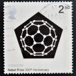 UNITED KINGDOM - CIRCA 2001: a stamp printed in Great Britain shows Carbon 60 Molecule, commemorates the 100th anniversary of the Nobel Prize for Chemistry, circa 2001  — Stock Photo