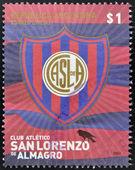 ARGENTINA - CIRCA 2007: A stamp printed in Argentina shows athletic club crest San Lorenzo de Almagro, circa 2007 — Foto de Stock