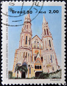 BRAZIL - CIRCA 1990: A stamp printed in Brazil shows Cathedral of St. John the Baptist in the city of Santa Cruz do Sul, circa 1990 — Stock Photo