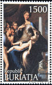 "BURYATIA - CIRCA 1990: A stamp printed in Buryatia shows picture of Parmigianino ""Madonna with the Long Neck "", circa 1990 — Stock Photo"