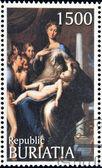 """Buriácia - circa 1990: um selo imprimido na buriátia mostra imagens de parmigianino """"madonna com seu longo pescoço"""", por volta de 1990 — Foto Stock"""