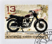 CYPRUS - CIRCA 2007: A stamp printed in Cyprus shows a motorbike, Triumph Daytona 1972, circa 2007 — Foto de Stock