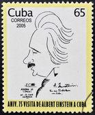 Cuba - intorno al 2005: un francobollo stampato a cuba dedicato all'anniversario di albert einstein visita a cuba, intorno al 2005 — Foto Stock