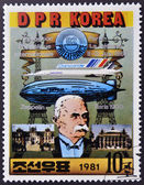 DPR KOREA- CIRCA 1981: A stamp printed in Korea shows portrait of Ferdinand von Zeppelin and dirigible, circa 1981 — Zdjęcie stockowe