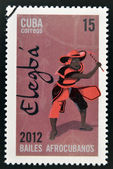 CUBA - CIRCA 2012: Stamp printed in Cuba dedicated to Afro-Cuban dance and Yoruba gods, shows Elegba, circa 2012 — Stockfoto