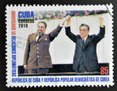 CUBA - CIRCA 2010: A stamp printed in cuba shows Fidel Castro and Kim Jong-Il, circa 2010 — Stock Photo