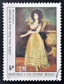 GUINEA - CIRCA 1984: A stamp printed in Republic of Guinea Bissau shows draw by artist Goya - Donna Tadeo Arias de Enriques, circa 1984 — Stock Photo