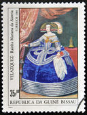 GUINEA - CIRCA 1984: A stamp printed in Republic of Guinea Bissau shows draw by artist Velazquez - Portrait of the Infanta Maria Theresa of Spain, Philip IV's daughter, circa 1984 — Stock Photo