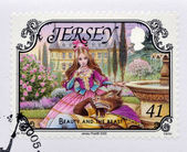 JERSEY - CIRCA 2005: A stamp printed in Jersey shows Beauty and the Beast, circa 2005 — Stockfoto