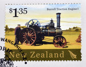 NEW ZEALAND - CIRCA 2004: A stamp printed in New Zealand dedicated to historic farm equipment, shows Burrell Traction Engine, circa 2004 — Stock Photo