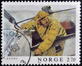 NORWAY - CIRCA 1987: A stamp printed in Norway shows Lords of the Seas, circa 1987 — Stock Photo