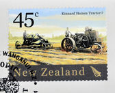 NEW ZEALAND - CIRCA 2004: A stamp printed in New Zealand dedicated to historic farm equipment, shows Kinnard Haines Tractor, circa 2004 — Stock Photo