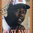 Stock Photo: MALAWI - CIRC2007: stamp printed in Malawi dedicated to greatest baseball players, shows Hank Aaron, circ2007