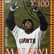 Stock Photo: MALAWI - CIRC2007: stamp printed in Malawi dedicated to greatest baseball players, shows Barry Bonds, circ2007