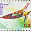 PORTUGAL - CIRCA 1997: A stamp printed in Portugal dedicated to extreme sports, shows Hang gliding, circa 1997 — Stok fotoğraf