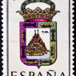 SPAIN - CIRCA 1965: A stamp printed in Spain dedicated to Arms of Provincial Capitals shows Malaga, circa 1965. — Stok fotoğraf