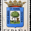 Stockfoto: SPAIN - CIRC1965: stamp printed in Spain dedicated to Arms of Provincial Capitals shows Huelva, circ1965.
