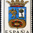 SPAIN - CIRCA 1965: A stamp printed in Spain dedicated to Arms of Provincial Capitals shows Madrid, circa 1965. — Foto de Stock