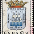 SPAIN - CIRCA 1965: A stamp printed in Spain dedicated to Arms of Provincial Capitals shows Ciudad Real, circa 1965.  — Zdjęcie stockowe