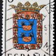 SPAIN - CIRCA 1965: A stamp printed in Spain dedicated to Arms of Provincial Capitals shows Melilla, circa 1965.  — Stok fotoğraf