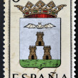 SPAIN - CIRCA 1965: A stamp printed in Spain dedicated to Arms of Provincial Capitals shows Albacete, circa 1965.  — Stock Photo