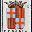SPAIN - CIRCA 1965: A stamp printed in Spain dedicated to Arms of Provincial Capitals shows Barcelona, circa 1965. — Stock Photo