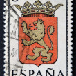 SPAIN - CIRCA 1965: A stamp printed in Spain dedicated to Arms of Provincial Capitals shows Zaragoza, circa 1965.  — Stock Photo