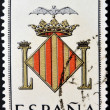 SPAIN - CIRCA 1965: A stamp printed in Spain dedicated to Arms of Provincial Capitals shows Valencia, circa 1965. — Stock Photo