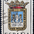 SPAIN - CIRCA 1965: A stamp printed in Spain dedicated to Arms of Provincial Capitals shows Cadiz, circa 1965.  — Stok fotoğraf