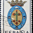 SPAIN - CIRCA 1965: A stamp printed in Spain dedicated to Arms of Provincial Capitals shows Tenerife, circa 1965.  — Stock Photo