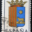SPAIN - CIRCA 1965: A stamp printed in Spain dedicated to Arms of Provincial Capitals shows Teruel, circa 1965.  — ストック写真