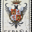 SPAIN - CIRCA 1965: A stamp printed in Spain dedicated to Arms of Provincial Capitals shows Toledo, circa 1965. — Stok fotoğraf