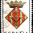 SPAIN - CIRCA 1965: A stamp printed in Spain dedicated to Arms of Provincial Capitals shows Lerida, circa 1965. — Stock Photo #27578179