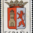 SPAIN - CIRCA 1965: A stamp printed in Spain dedicated to Arms of Provincial Capitals shows Caceres, circa 1965. — Stock Photo