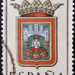Stock fotografie: SPAIN - CIRC1965: stamp printed in Spain dedicated to Arms of Provincial Capitals shows Burgos, circ1965.