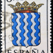 Stock fotografie: SPAIN - CIRC1965: stamp printed in Spain dedicated to Arms of Provincial Capitals shows Tarragona, circ1965.