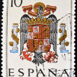 Foto Stock: SPAIN - CIRC1965: stamp printed in Spain shows shield of Spain during Franco dictatorship, circ1965.
