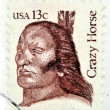 UNITED STATES OF AMERICA - CIRCA 1982: A stamp printed in USA shows Crazy Horse (1840-1877) an Oglala Lakota Sioux leader, circa 1982. — Stock Photo