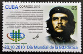 CUBA - CIRCA 2010: A stamp printed in cuba dedicated to World Statistics Day, shows Ernesto Che Guevara, circa 2010 — Stock Photo